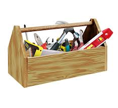 Picture of a wooden tool box filled with handyman tools that are used in Desmoines, IA